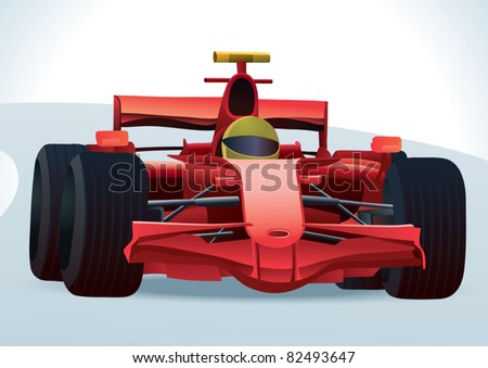 Red F1 Racing Car - stock vector