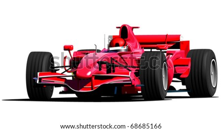Red f1 sport car - stock vector