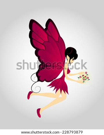 Red Fairy Fly With Flowers - stock vector