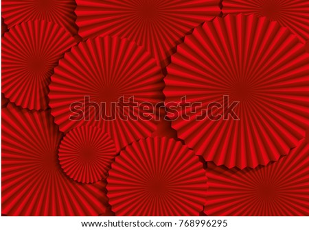 red fan background template vector/illustration