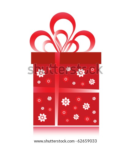 Red fancy gift wrapped in floral designs.