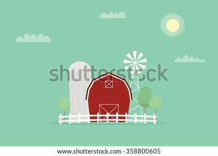 Red farm, windmill and silos - stock vector