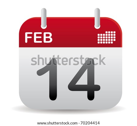 red february calendar stand up, love day - stock vector