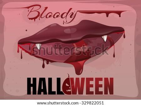 red feminine lips in blood bloody halloween vector vintage illustration - Blood For Halloween