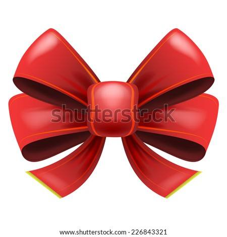 red festive bow with knot isolated vector illustration - stock vector