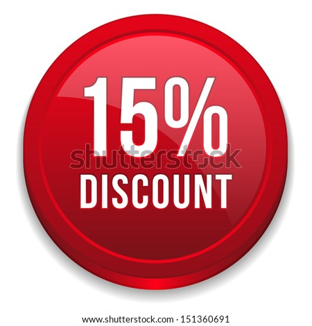 Red fifteen percent discount button