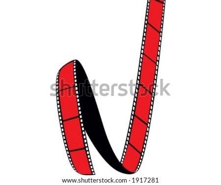 Red film, spool film, cinema - stock vector