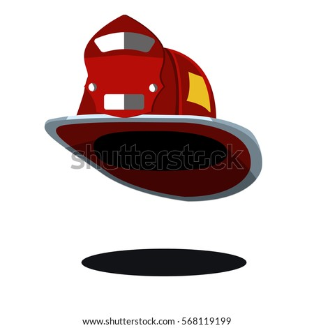 red fireman hat helmet USA American vintage. Icon. Vector