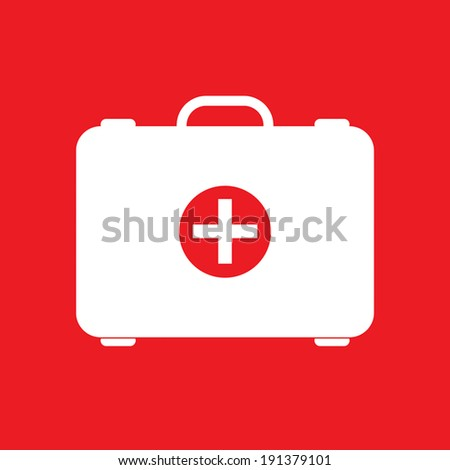 Red first aid box on red background - stock vector