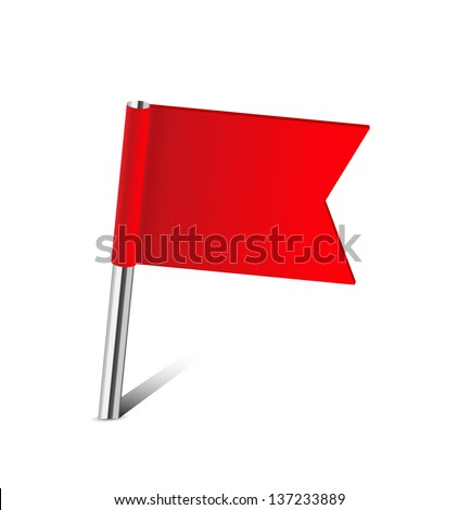 Red flag map pin on white - stock vector