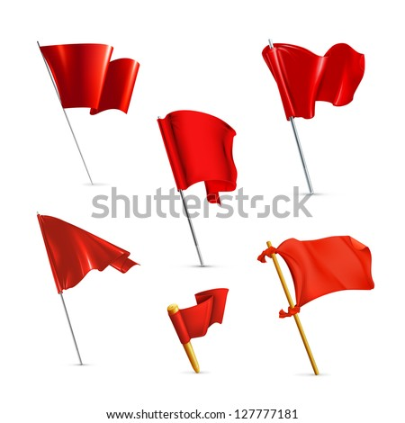 Red flags, vector icon set - stock vector