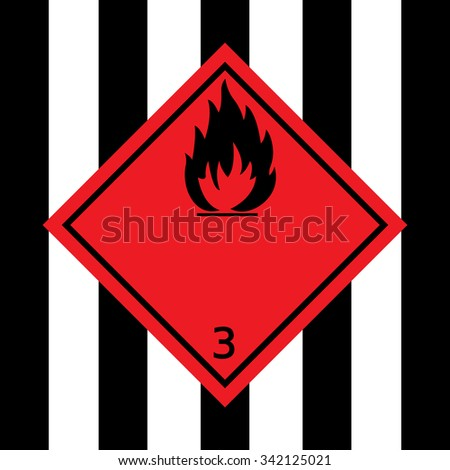 Red Flammable Liquid Warning Sign - stock vector