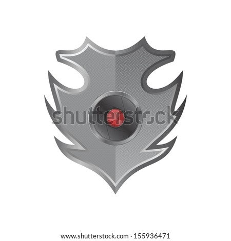 red flash camera lens fire shield - stock vector