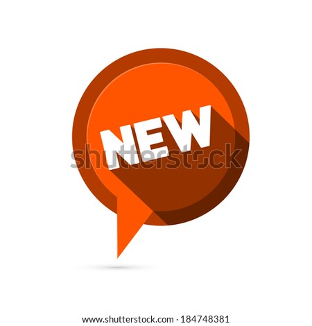 Red Flat Design Vector Sticker - Label with New Title - stock vector