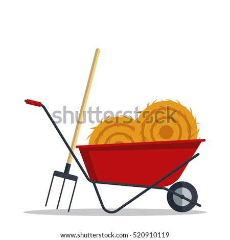 Red Flat Gardening Wheelbarrow With Hay And Pitchfork Isolated On White  Background. Tool Construction Farming