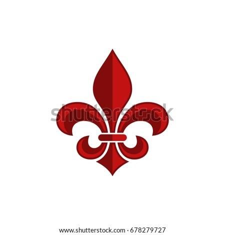 red fleur de lis logo template stock vector 678279727 shutterstock
