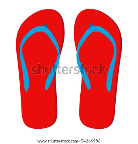 Red flip-flops isolated on a white background. - stock vector