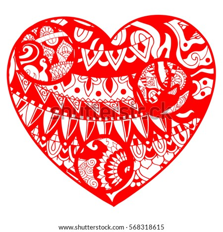 Red Floral Asian Style Heart Valentines Stock Vector 568318615 ...