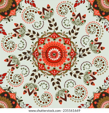 Red floral pattern. Flowers background - stock vector