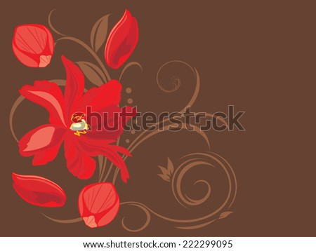 Red flower and petals on the decorative brown background. Vector - stock vector