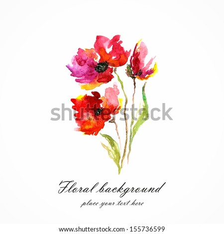 Red flower. Poppy. Watercolor floral decoration. Floral bouquet. Vector floral background. Birthday card. - stock vector
