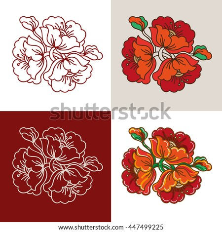 Red Flower Russian Classic Ornament element