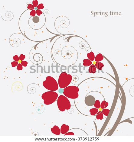 red flowers ,abstract composition - stock vector