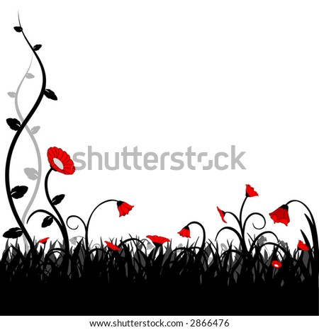 red flowers and grass - vector  illustration - stock vector