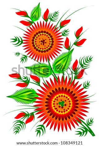 Red flowers decorative folk element vector EPS 10 - stock vector