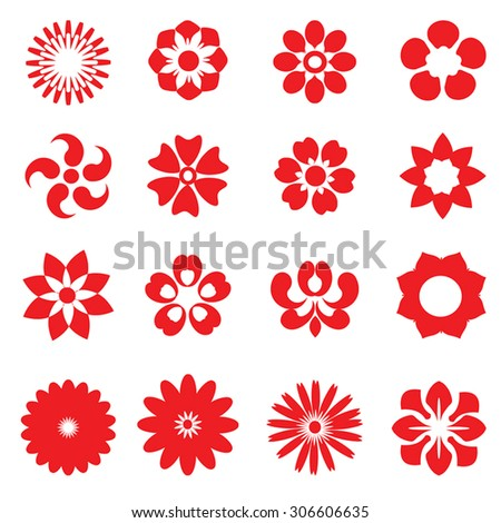 Red flowers - set of abstract vector flowers shapes. Flower heads geometrical collection. Circle floral silhouettes. Vintage flowers as icon, stamp, design element. Isolated on white. - stock vector