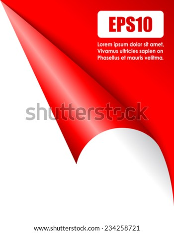 Red folded page corner - stock vector
