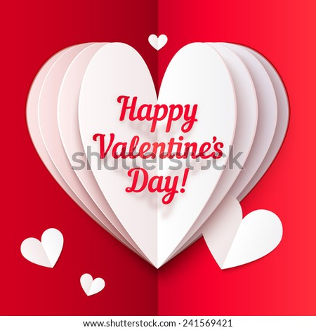 Red folded paper vector heart with Happy Valentines Day text - stock vector