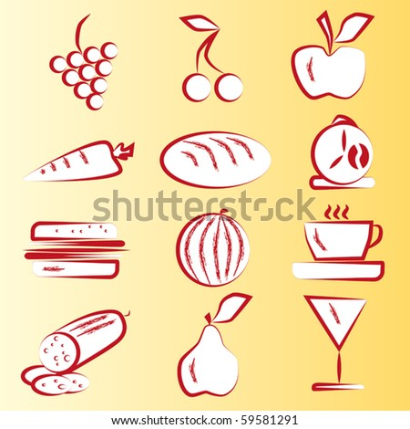 Red Food Icons Part 1 Vector set - stock vector