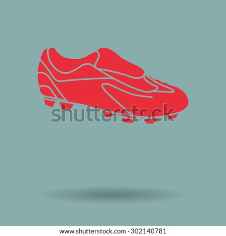 Red Football boots - vector illustration - stock vector