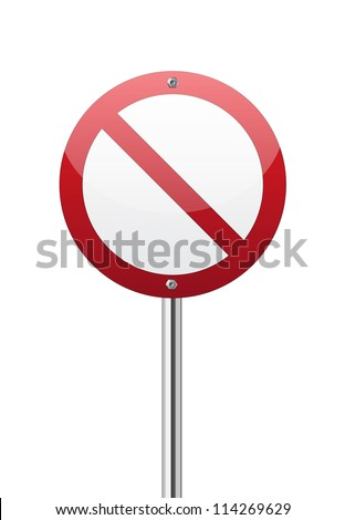 Red forbidden traffic sign on white - stock vector