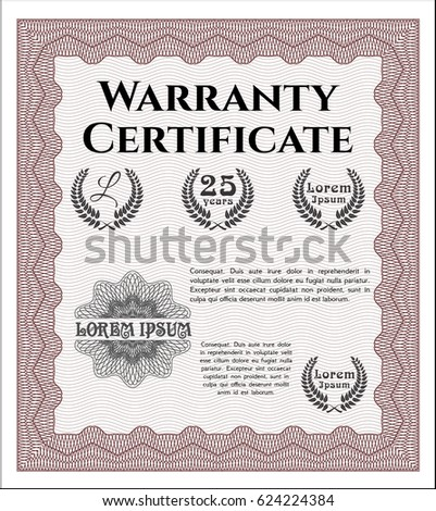 Red Formal Warranty Certificate Template Excellent Stock Vector
