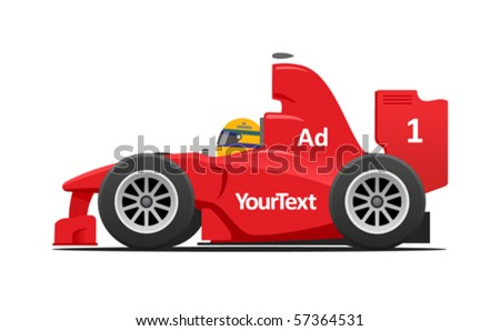 red formula car - stock vector