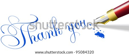 Red fountain pen writes Thank You note words in blue ink - stock vector