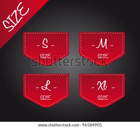 red four size over black background. vector illustration - stock vector