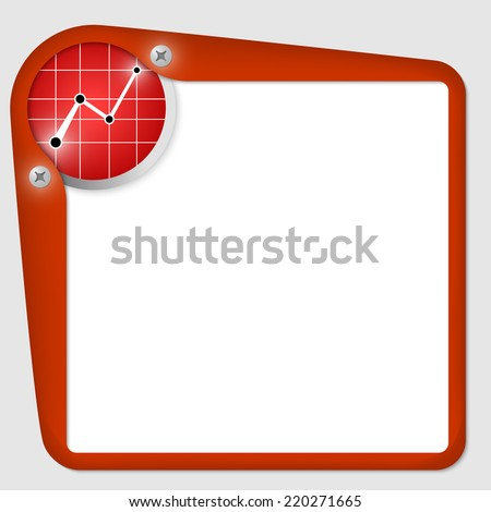 red frame for text with screws and graph - stock vector
