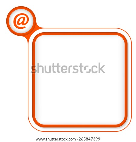 Red frame for your text and email symbol - stock vector