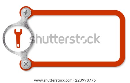 red frame with screws and spanner - stock vector