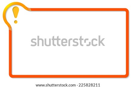 red frame with yellow corner and exclamation mark - stock vector