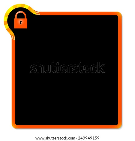 red frame with yellow corner and padlock - stock vector