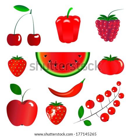 Red fruits and vegetables, set, isolated on white background, vector illustration. - stock vector