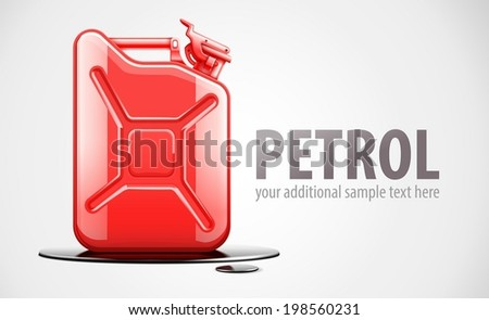Red fuel canister for petrol in black oil drop. Eps10 vector illustration. - stock vector