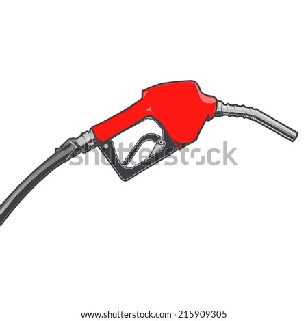 Red fuel nozzle with hose isolated on a white background. Color line art. Retro design. Vector illustration.