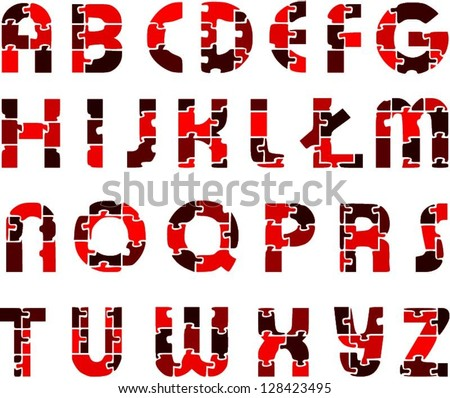 Red funny alphabet letters made of puzzles. Vector cool font. - stock vector