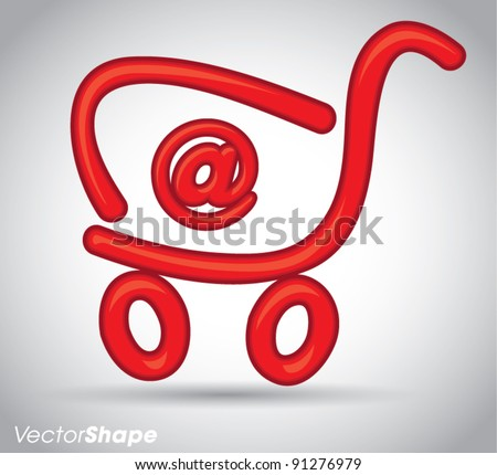 Red funny cartoon shopping cart with 'at' sign, online shopping concept, vector illustration - stock vector