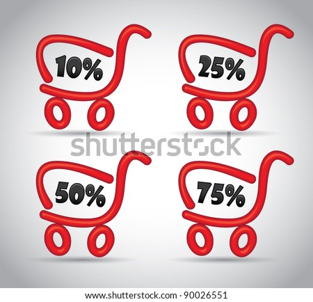 Red funny cartoon shopping cart with discount sale offer promotions, vector illustration - stock vector